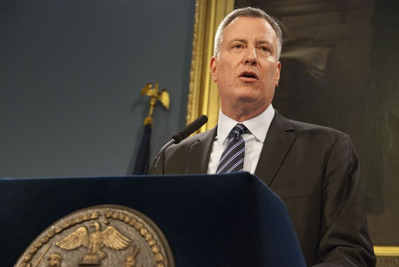 Mayor Bill de Blasio speaks at a press conference about Myls Dobson on January 17th.