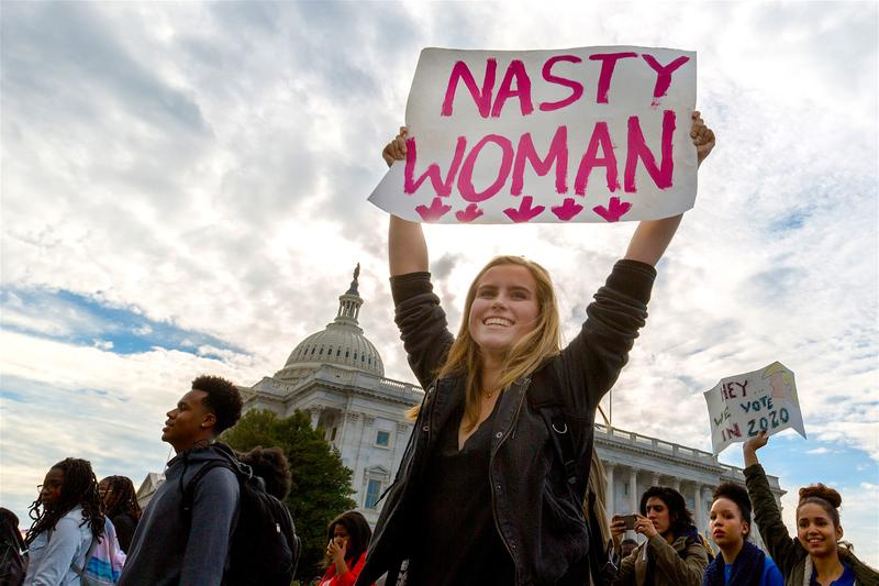 A woman protesting in the nation's capital, Nov. 15, 2016.