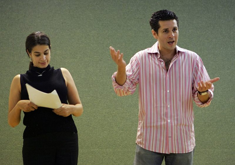 Maysoon Zayid, left, and Dean Obeidallah, co-founders of the Arab-American Comedy Festival, perform together Friday Nov. 4, 2005, in New York.