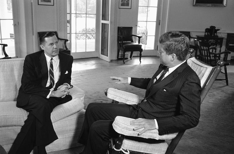 President John Kennedy talks with Edmund A. Gullion, U.S. Ambassador to the Republic of Congo on August 18, 1961 at the White House in Washington.