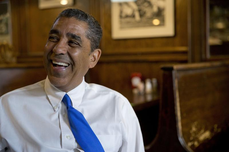 Adriano Espaillat smiles during a July interview with The Associated Press in New York.