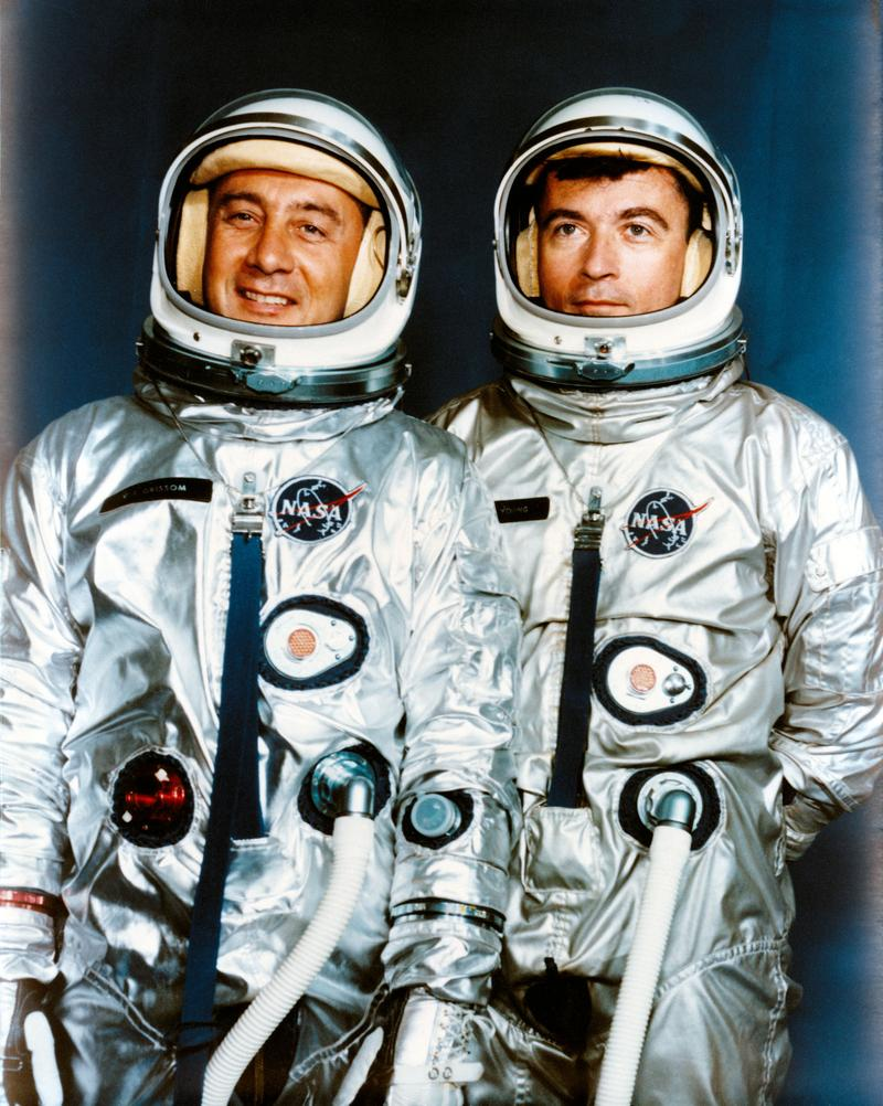 Astronauts Virgil I. Grissom (left), Gemini-3 command pilot; and John W. Young, pilot. April 13, 1964.