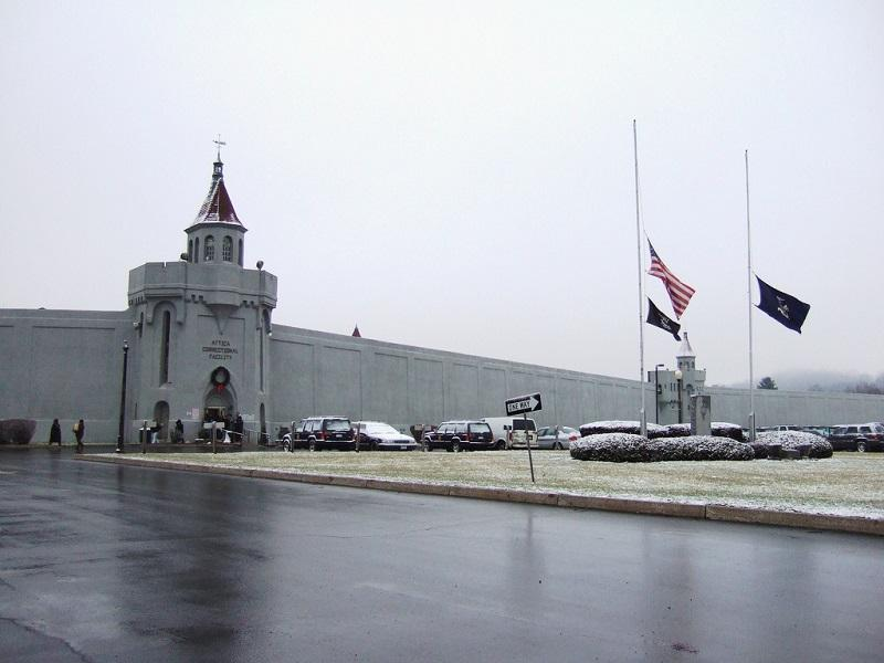 The entrance of Attica Correctional Facility in New York state.