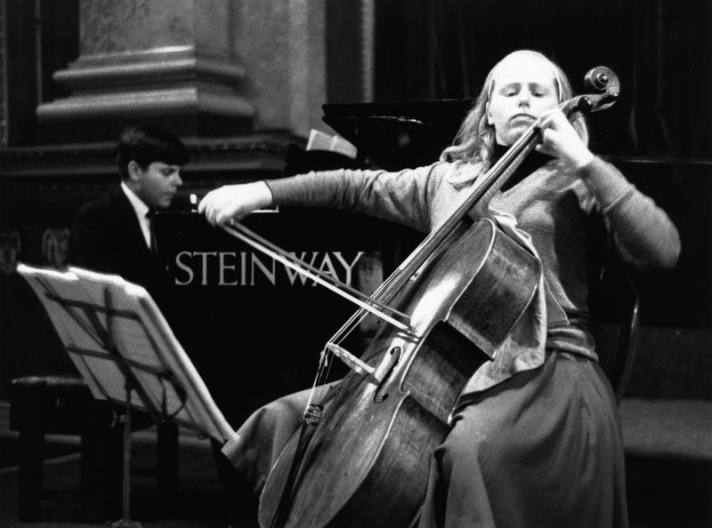 The English cellist Jacqueline Du Pre rehearses with accompanist Stephen Bishop Kovacevich at Goldsmith's Hall, London, October 15, 1964.