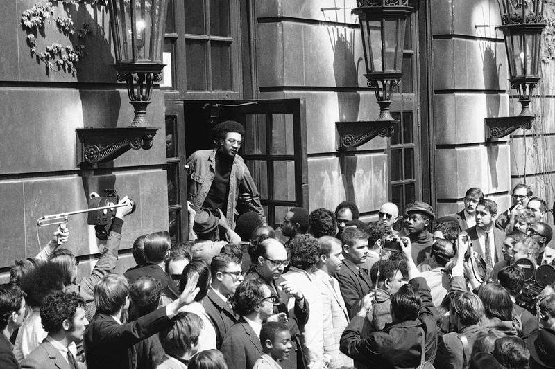 Civil Rights Leader H Rap Brown Converses With The Crowd Outside Student Occupied Hamilton Hall On