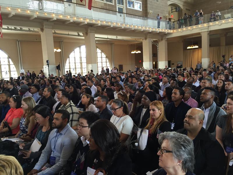 New citizens on Ellis Island. Janet Babin/WNYC