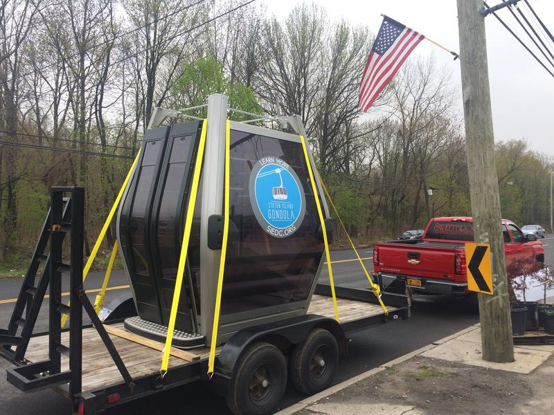 A gondola cabin went on tour of Staten Island to promote a possible  new commuting system (Sophia Paliza-Carre)