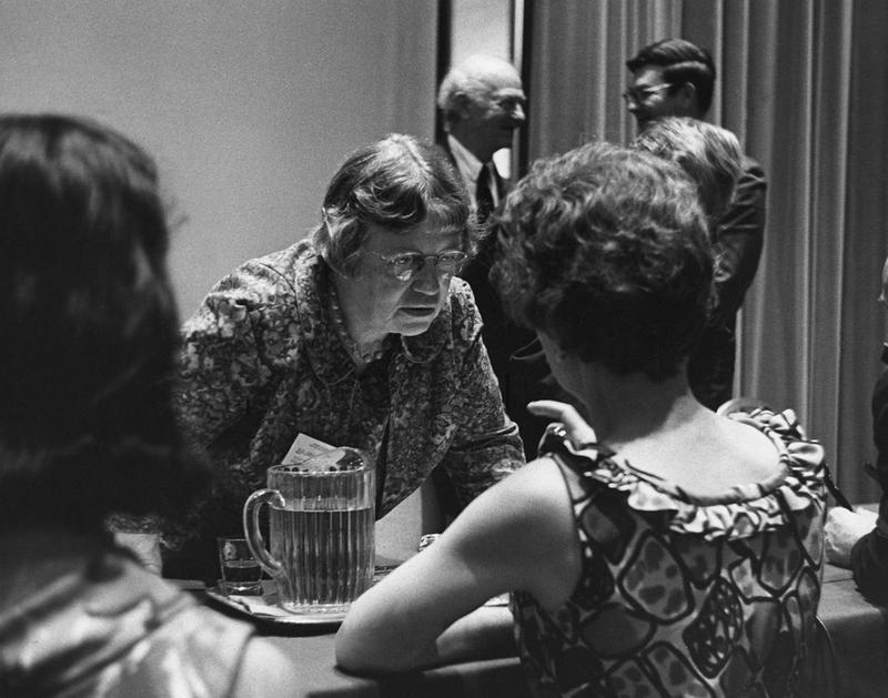 Margaret Mead  speaking to journalists at the New York Academy of Sciences in June, 1968.
