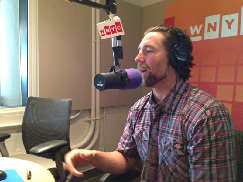 Pitcher RA Dickey in the WNYC studios talking with Brian Lehrer