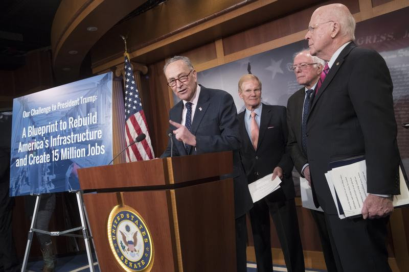 Sen. Charles Schumer and Senate Democrats offer a proposal to spend $1 trillion on transportation and other infrastructure projectsin an attempt to engage President Donald Trump on the issue.