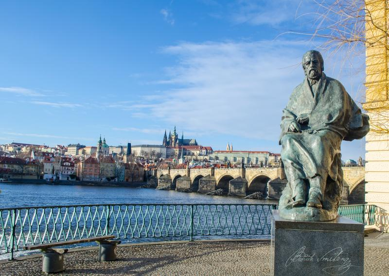 A statue of composer Bedřich Smetana in  in Prague.