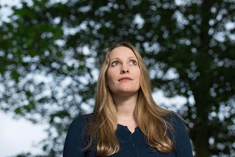 British writer Laura Bates attends a photocall at Edinburgh International Book Festival at Charlotte Square Gardens on August 14, 2016 in Edinburgh, Scotland.