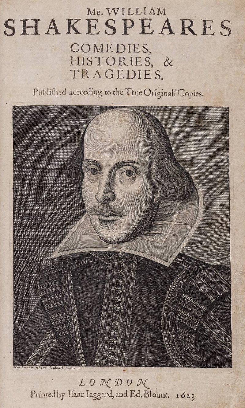 Title page of the First Folio, by William Shakespeare