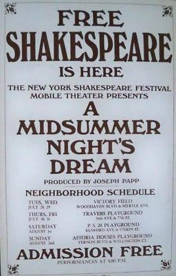A Midsummer Night's Dream window card for New York Shakespeare Festival, 1964
