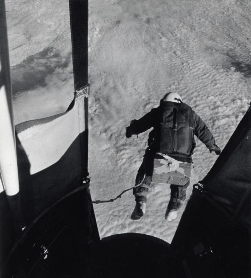 On August 16, 1960, over New Mexico, Capt. Joseph W. Kittinger, Jr. made the highest altitude drop in history. The automatic camera records the instant Capt. Kittinger bailed out of the balloon.
