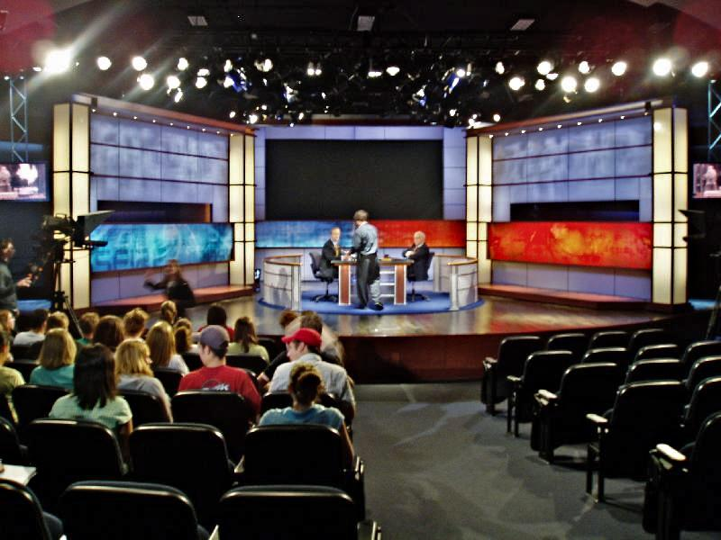 Studio of CNN's Crossfire on the campus of the George Washington University just after taping. On stage were the hosts for that day, Paul Begala and Robert Novak.