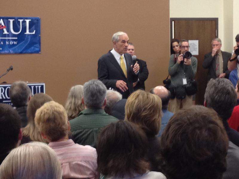 Congressman Ron Paul talks to a packed crowd of Iowa voters at a town hall in Washington, Iowa, on December 21.