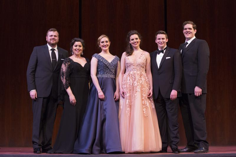 The winners of the 2017 National Council Grand Finals Concert: Kyle van Schoonhoven, Vanessa Vasquez, Samantha Hankey, Kirsten MacKinnon, Aryeh Nussbaum Cohen, and Richard Smagur.