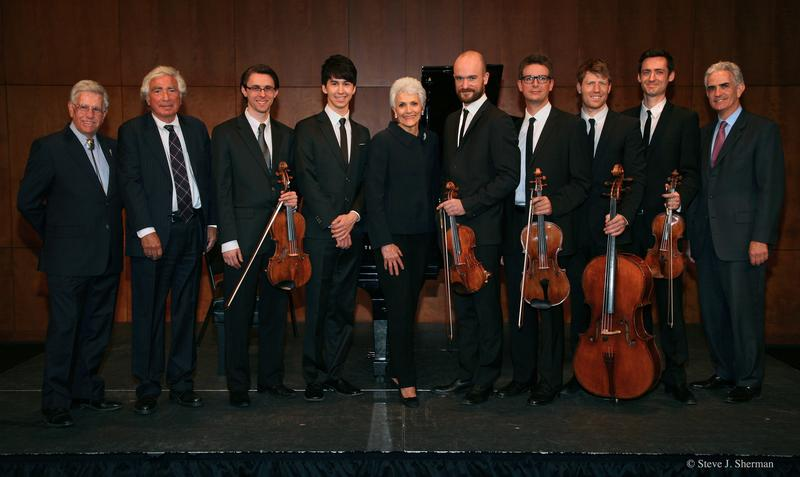 Host Bob Sherman with Nat Leventhal, Dimitri Murrath, Charlie Albright, Nancy Fisher, Calder Quartet (Andrew Bulbrook, Jonathan Moerschel, Eric Byers, Benjamin Jacobson) and Charles Avery Fisher
