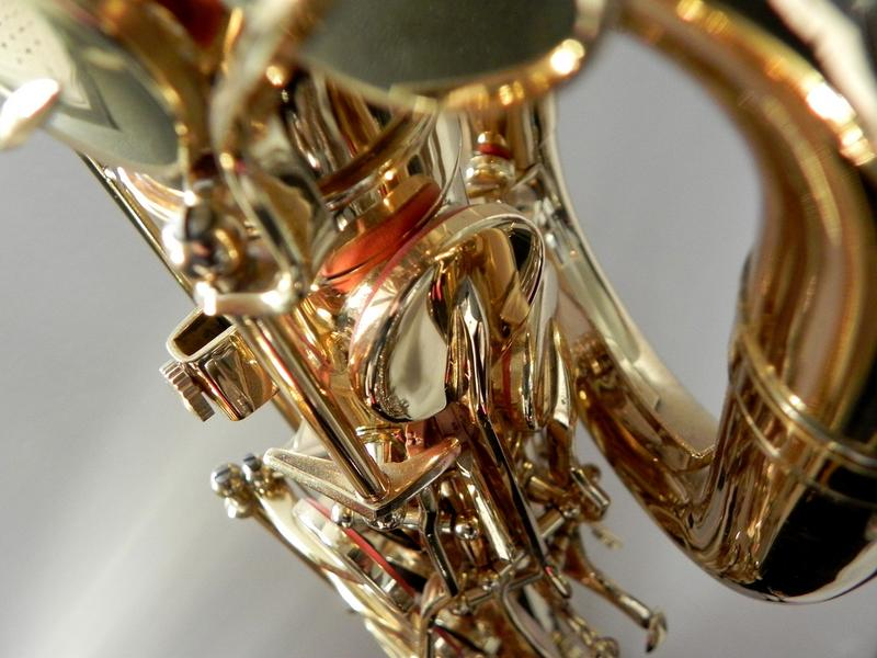 Detail of baritone saxophone.
