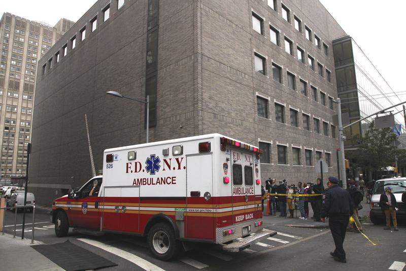In this Wednesday, Oct. 31, 2012 file photo, an ambulance departs Bellevue Hospital in New York.