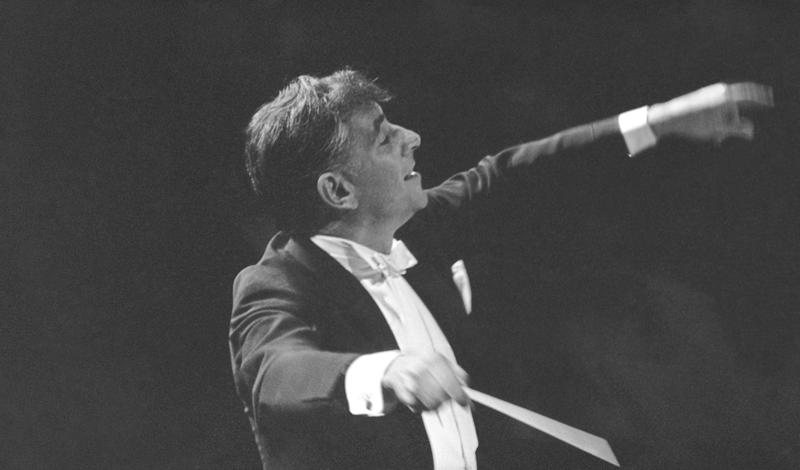 Leonard Bernstein leads the New York Philharmonic Orchestra in the inaugural concert in New York's new Philharmonic Hall, Sept. 24, 1962.