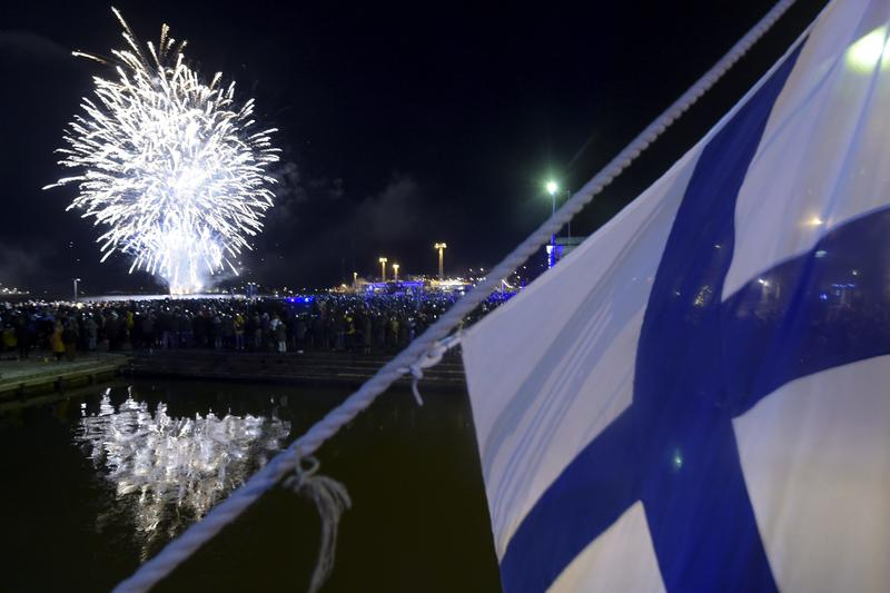Fireworks end the festivities of Finnish independence, in Helsinki, Finland, Dec. 6, 2017.