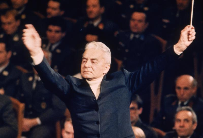 German conductor Herbert von Karajan during a dress rehearsal with the Vienna Philharmonic Orchestra, Dec. 30, 1986.