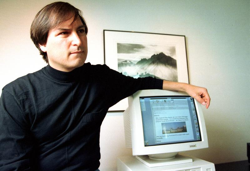 Steve Jobs, co-founder of Apple Computer, at his new company NeXt, Inc., in Redwood City, Ca., in April, 1993.