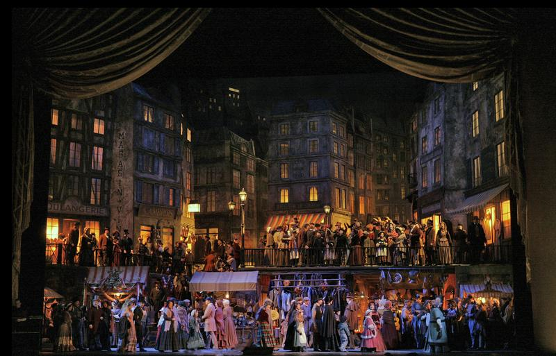 A scene from Act II of Puccini's 'La Bohème.'