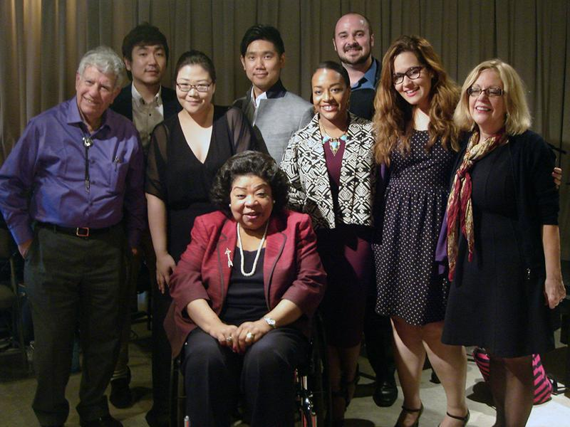 Soprano Martina Arroyo (center) with host Bob Sherman and students from Arroyo's Prelude to Performance program.