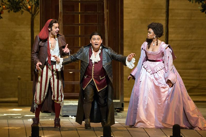 Peter Mattei as Figaro, Javier Camarena as Count Almaviva, and Pretty Yende as Rosina
