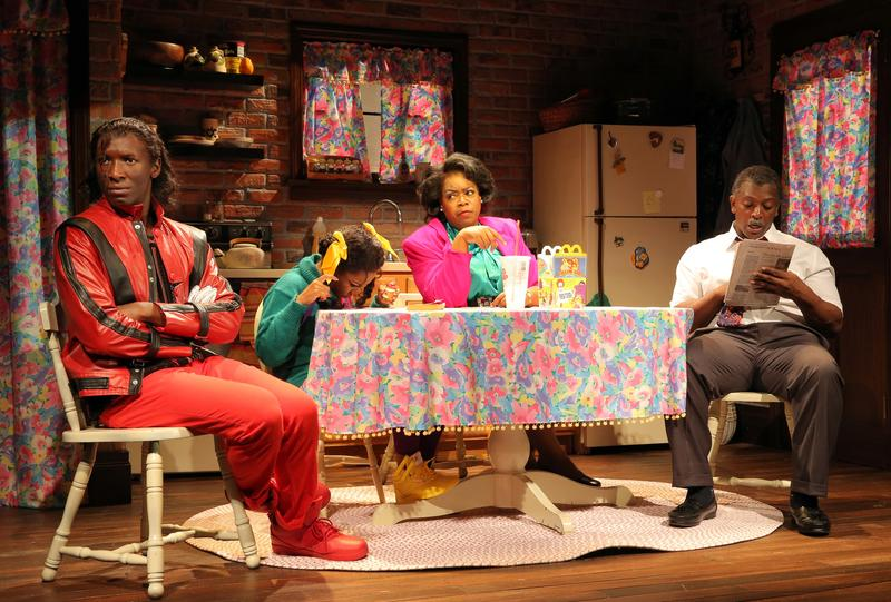 Phillip James Brannon, Jessica Frances Dukes, Benja Kay Thomas and Lance Coadie Williams in a scene from 'Bootycandy' at Playwrights Horizons.