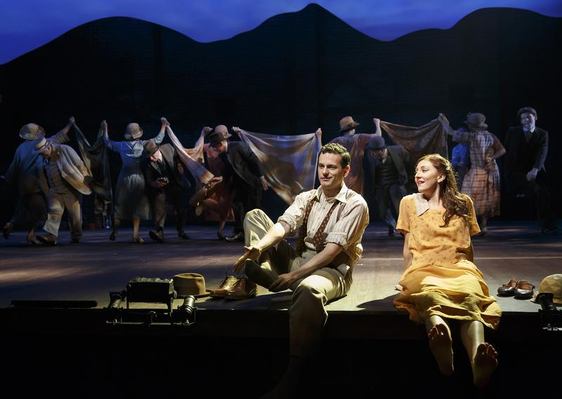 Wayne Alan Wilcox as Jimmy Ray Dobbs and Carmen Cusack as Alice Murphy with the cast of the world premiere of 'Bright Star.'