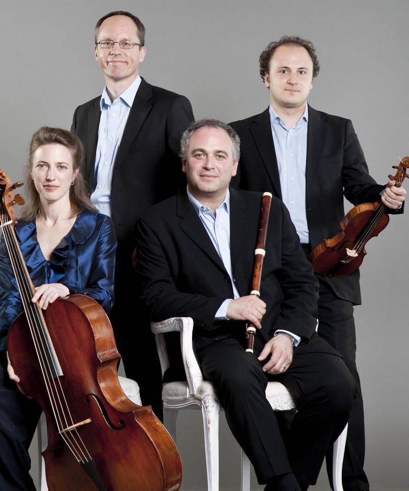 British period instrument ensemble Florilegium (Jennifer Morsches, Baroque cello; Terence Charlston, harpsichord; Ashley Solomon, Baroque flute and director; Bojan Čičič, Baroque violin)