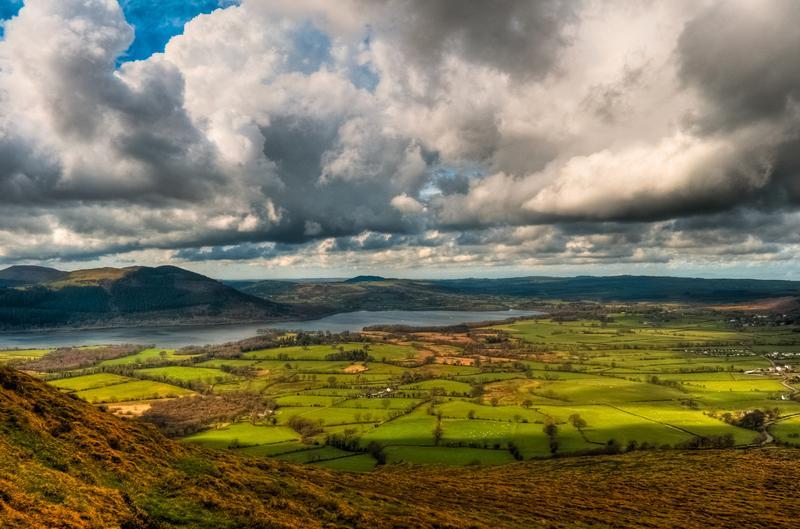 Clouds over Bassenthwaite Lake, Cumbria, in England.
