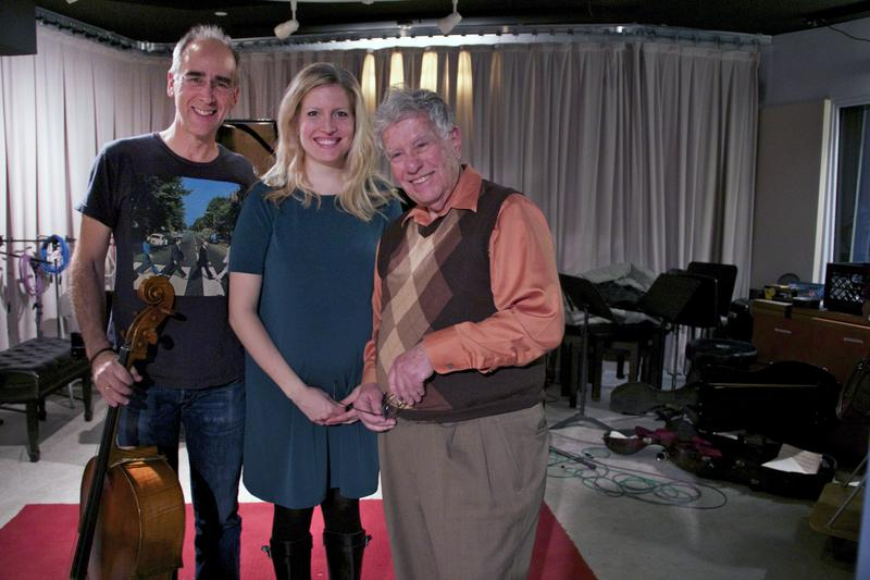 Cellist Carter Brey and pianist Gabriela Martinez with Young Artists Showcase host Bob Sherman.