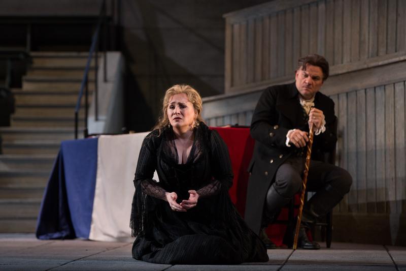 "Patricia Racette as Maddalena and Željko Lučić as Gérard in Giordano's ""Andrea Cheniér."""