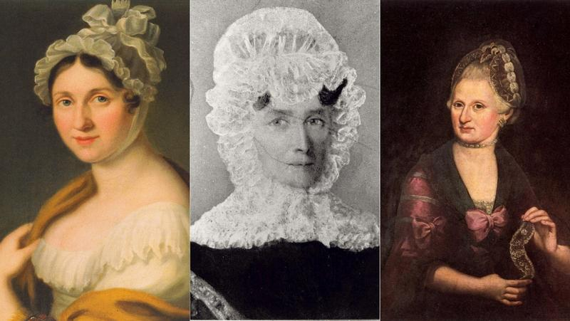Portraits of (left to right) Johanna Wagner, Justyna Chopin and Anna Maria Mozart.