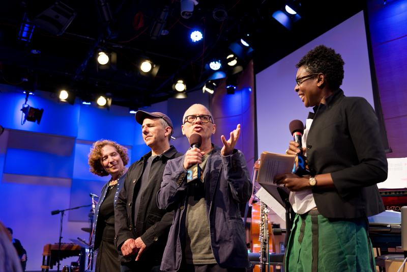 Composers and Bang on a Can co-founders Julia Wolfe, Michael Gordon and David Lang with host Helga Davis at Q2 Music Presents in The Greene Space