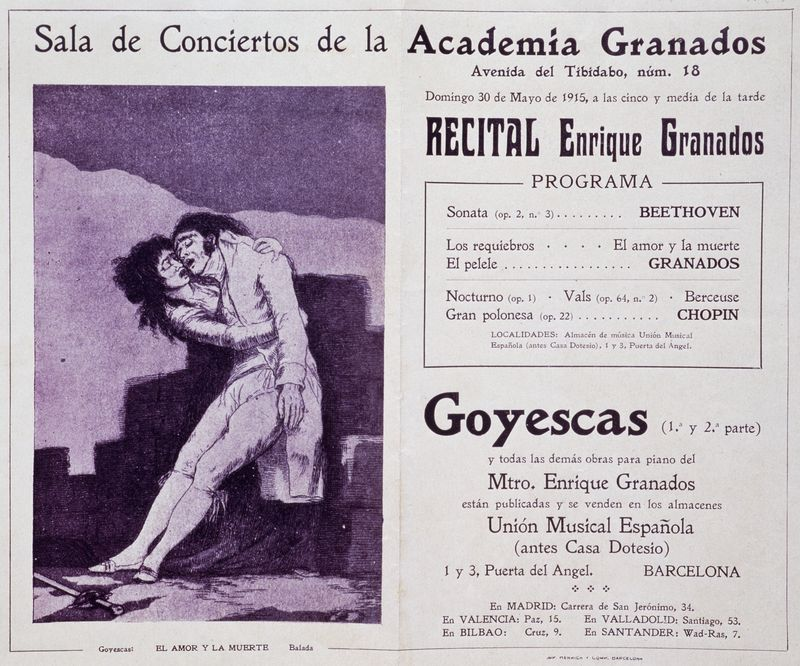 A playbill of a concert by Spanish pianist Enrique Granados in Barcelona, May 1915.