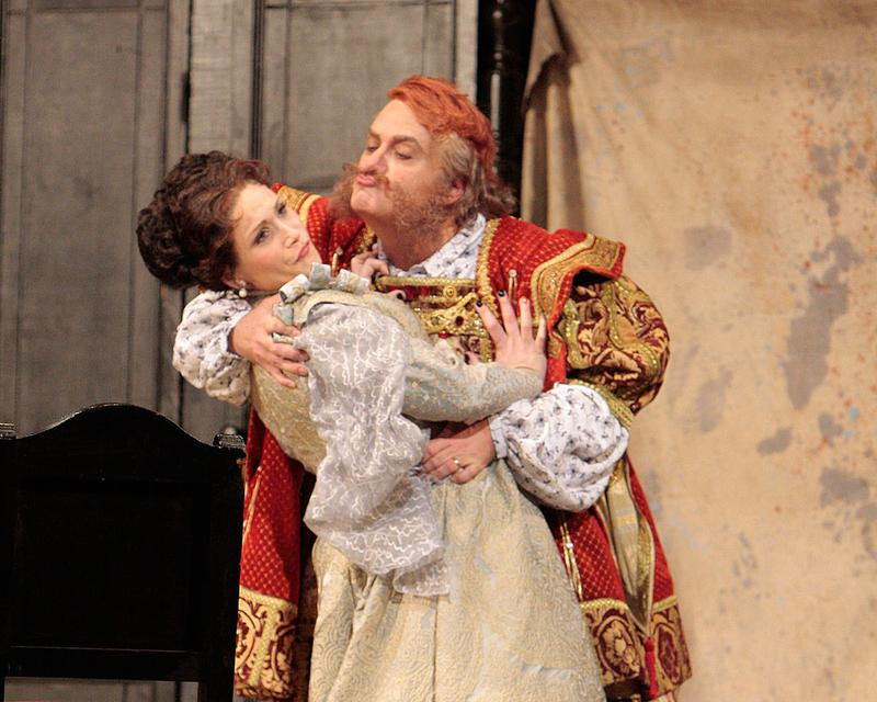 Roberto Frontali, as the title role, and Carmen Giannattasio (Alice Ford) in LA Opera's 'Falstaff.'