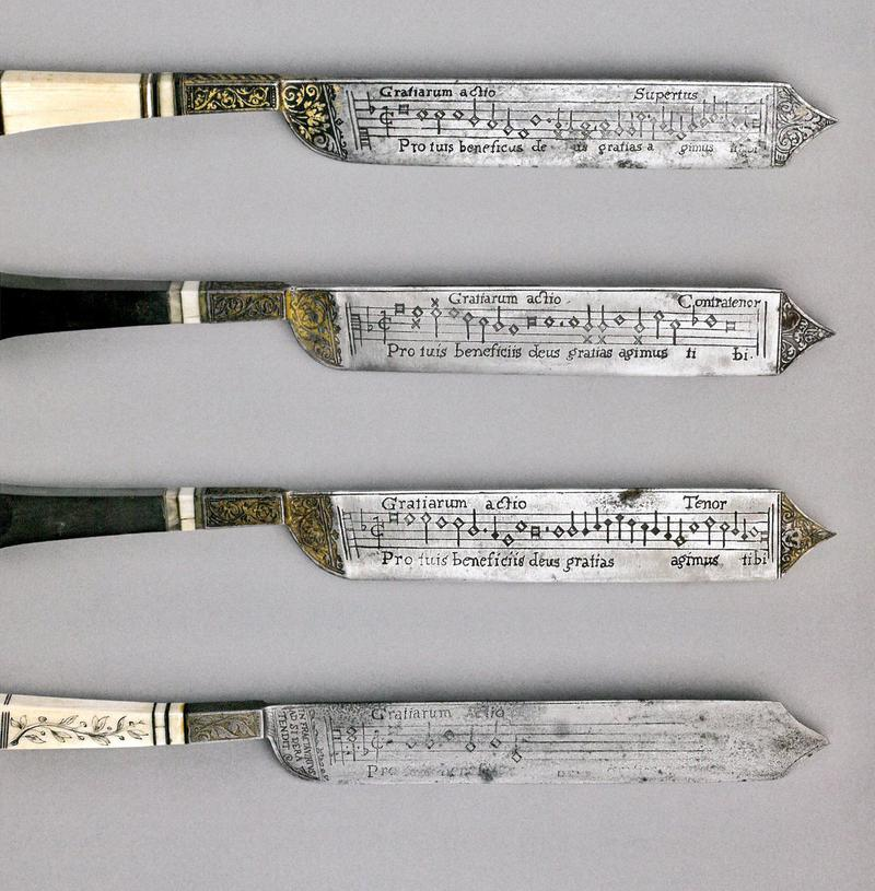 Notation Knives, c. 16th century, artist unknown, from the collection of the Fitzwilliam Museum, in Cambridge.