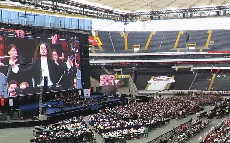 A gathering of musicians in Frankfurt, Germany, broke the world record for largest orchestra.