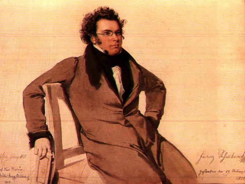Franz Schubert reclines in a portrait by Wilhelm August Rieder.