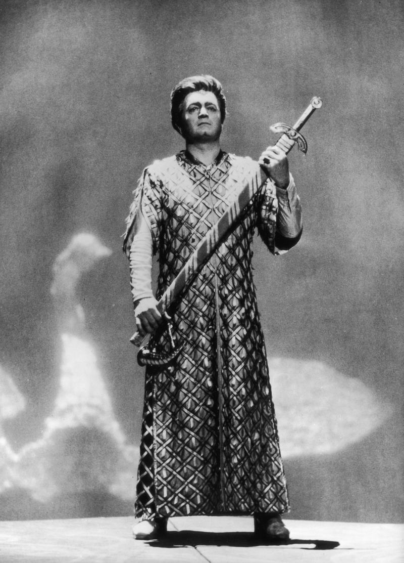 Hungarian-born tenor Sandor Konya (1928 - 2002) rehearsing the title role in Wagner's 'Lohengrin' at Bayreuth, Germany in July 1967.