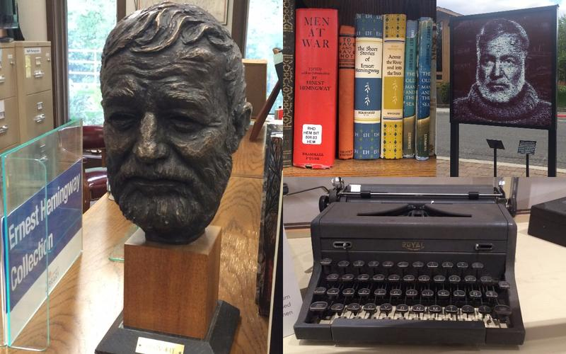 Statues, books and other ephemera about Ernest Hemingway are abundant in Ketchum, Idaho.