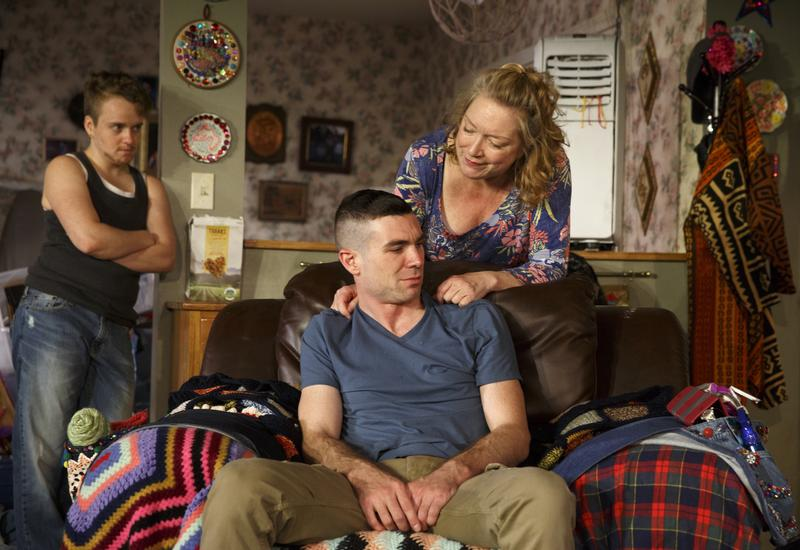 Tom Phelan (left), Cameron Scoggins (center) and Kristine Nielson (right) in Taylor Mac's 'Hir' at Playwrights Horizons.