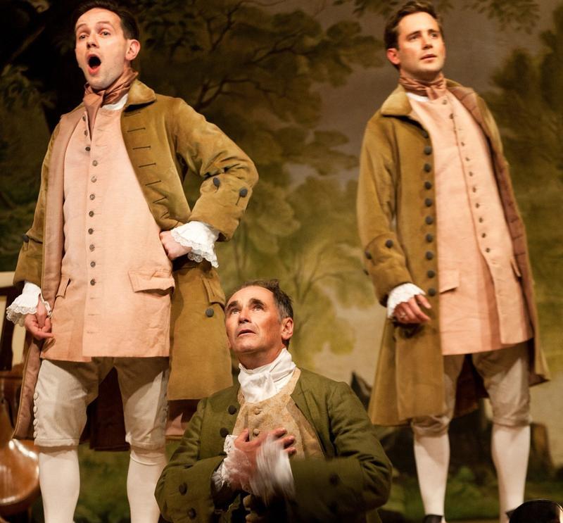 "British countertenor Iestyn Davies, Mark Rylance, and Sam Crane in Claire van Kampen's play, ""Farinelli and the King."""