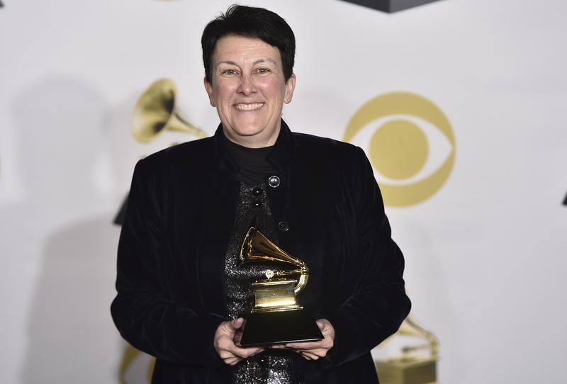 Jennifer Higdon poses in the press room with the best contemporary classical composition award for 'Viola Concerto' at the 60th annual Grammy Awards at Madison Square Garden on Sunday, Jan. 28, 2018.